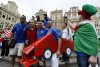 Italian supporter take pictures of Italian soccer fans before the Euro 2012 soccer match between Italy and Croatia at Old Market in Poznan, western Poland, June 14, 2012.
