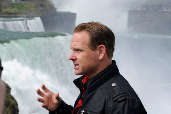 Nik Wallenda speaks about his upcoming wire walk over the Canadian (Horseshoe) Falls, as he stands at the American Falls, Niagara Falls May 2, 2012.