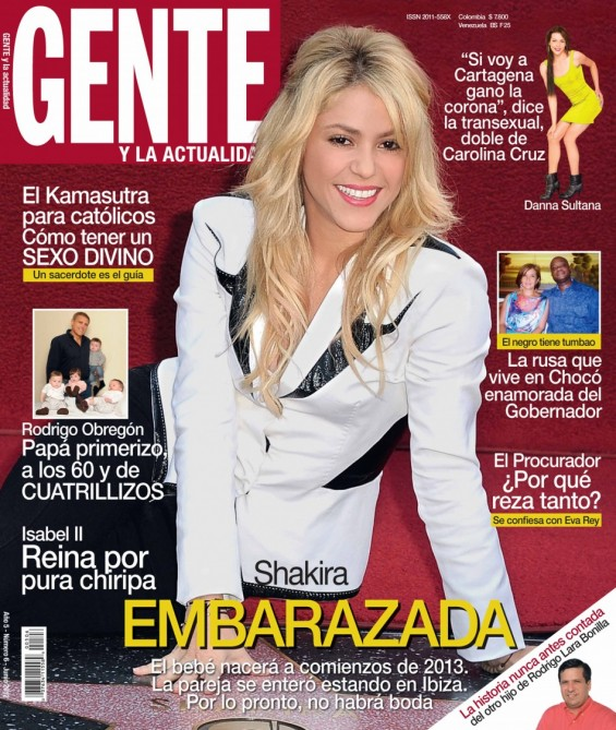"The cover of ""Gente"" magazine's june issue features a story about Shakira's pregnancy."