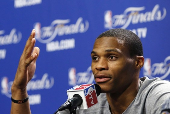 Oklahoma City Thunder player Russell Westbrook speaks to the media during a team practice at the NBA basketball finals in Miami June 20, 2012.