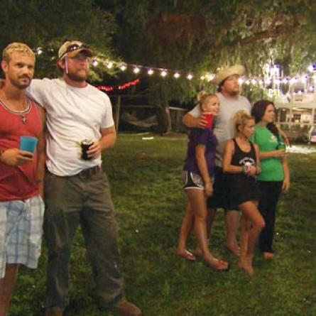 Ryan 'Daddy' Richards, Walt Windham, Josh Murray, Tiffany Heinen, Taylor 'Lil Bit' Wright and Lauren White of 'Party Down South' during a season 1 episode