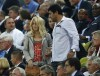 Colombian singer Shakira (L) is pictured in the stands during the Group C Euro 2012 soccer match between Spain and Croatia at the PGE Arena in Gdansk, June 18, 2012.  Gerard Pique not pictured.