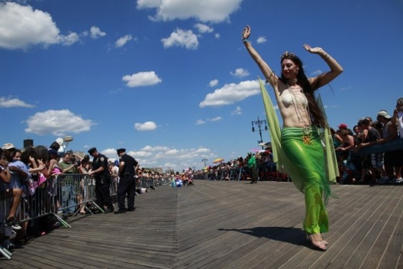A costumed woman takes part in the Mermaid Parade at Coney Island, in the Brooklyn borough of New York city, June 23, 2012. The Mermaid Parade is Coney Island&#039;s homage to the Mardi Gras which lasted from 1903 to 1954 in the past.