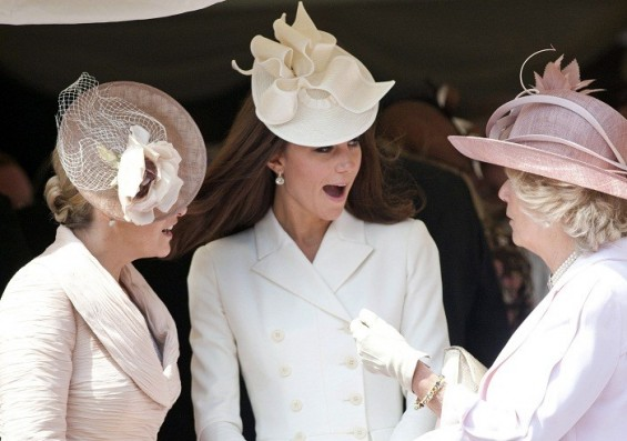 Britain's Catherine, Duchess of Cambridge (C), Camilla, Duchess of Cornwall (R) and Sophie, Countess of Wessex (L) attend the annual Order of the Garter Service at St George's Chapel at Windsor Castle in Windsor, southern England, June 18, 2012.