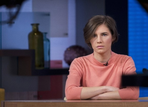 Amanda Knox appearing on 'Good Morning America' after she was reconvicted in the 2007 murder of Meredith Kercher
