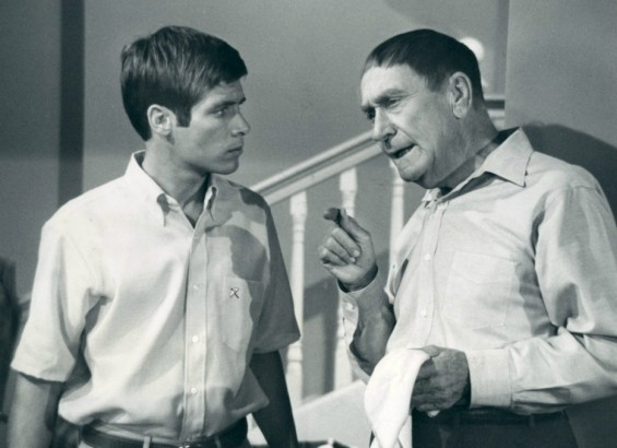 Photo of Don Grady (Robbie) and William Demarest (Uncle Charley) from the television program My Three Sons.