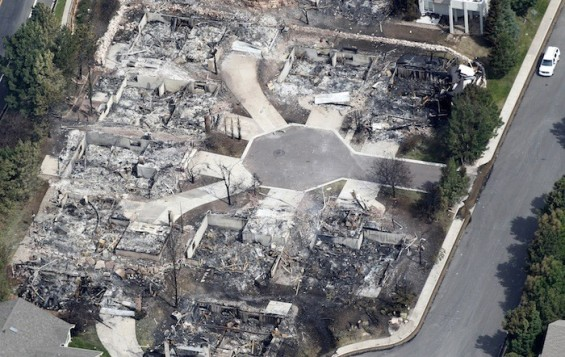 Some of the hundreds of totally destroyed homes are seen in the aftermath of the Waldo Canyon fire in Colorado Springs, Colorado June 28, 2012