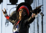 Singer Lauryn Hill performs on center stage at the Coachella Valley Music & Arts Festival in Indio, California April 15, 2011.