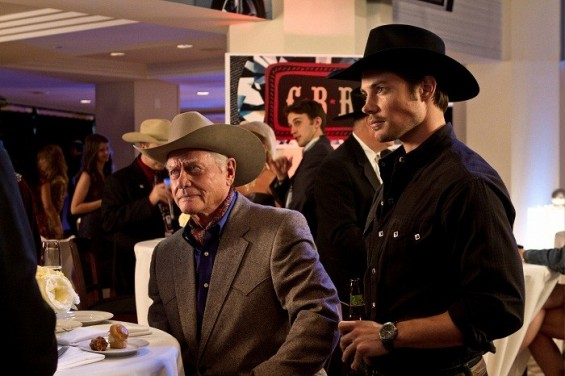 "Larry Hagman and Josh Henderson in ""Dallas."""