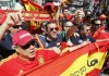 Soccer fans of Spain sing in the Euro 2012 fan zone in Kiev, July 1, 2012. Spain will play its final of the Euro 2012 soccer championships against Italy in Kiev on Sunday.