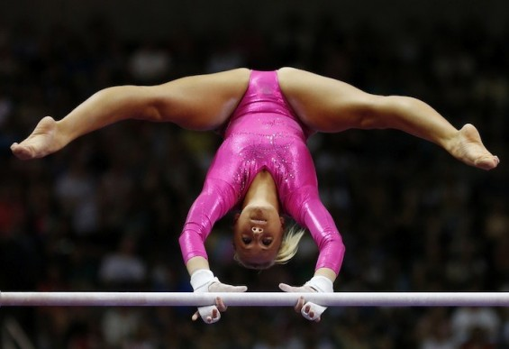 U.S. gymnast Nastia Liukin performs on the uneven bars at the U.S. Olympic gymnastics trials in San Jose, California June 29, 2012.