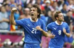 Italy's Andrea Pirlo celebrates his goal against Croatia during their Group C Euro 2012 soccer match at city stadium in Poznan, June 14, 2012.