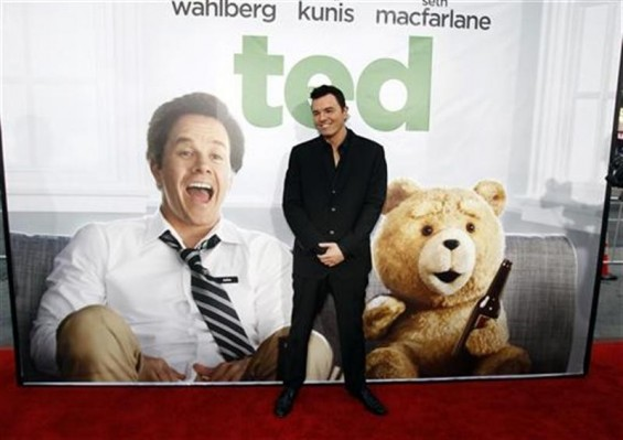 "Writer, director and cast member Seth MacFarlane poses at the premiere of ""Ted"" at the Grauman's Chinese theatre in Hollywood, California June 21, 2012. The movie opens in the U.S. on June 29."