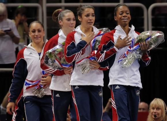 U.S. gymnasts Jordyn Wieber, McKayla Maroney, Alexandra Raisman and Gabrielle Douglas