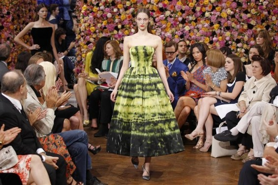 A model presents a creation by Belgian designer Raf Simons as part of his Haute Couture Fall-Winter 2012/2013 fashion show for French house Dior in Paris July 2, 2012.