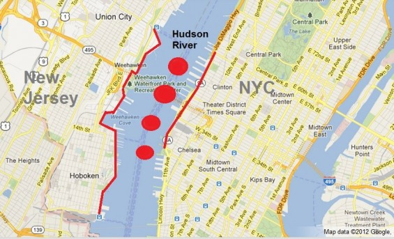 A map shows the best spots to view the 4th of July Macy's Fireworks 2012 from New Jersey and New York City.