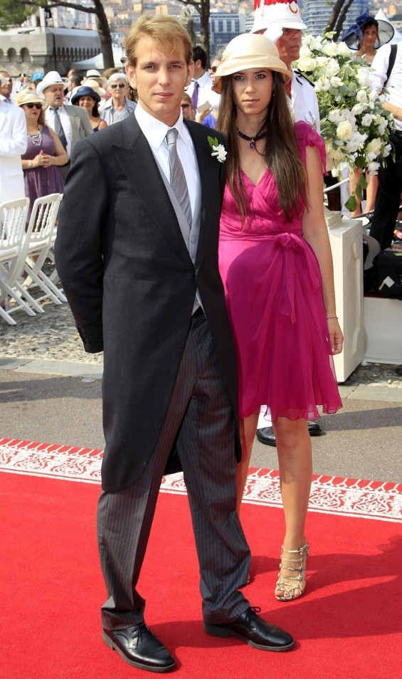 Andrea Casiraghi (L) and his girlfriend Tatiana Santodomingo (R) arrive at the Place du Palais to attend the religious wedding ceremony for Monaco's Prince Albert II and Princess Charlene at the Palace in Monaco July 2, 2011.