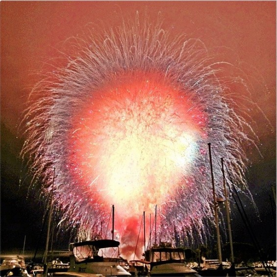 "An image of the 4th of July Fireworks show in San Diego dubbed ""Big Bay Boom,"" on 2012 when all the pyrotechnics went off at the same time."