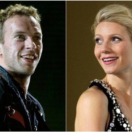 "Combo picture of singer Chris Martin of Coldplay performing during a concert as part of their ""Viva La Vida"" tour in Barcelona September 4, 2009 and actress Gwyneth Paltrow posing during the premiere of her film ""Iron Man"" in Berlin Ap"