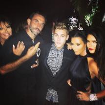 Kris Jenner, Riccardo Tisci, Justin Bieber, Kim Kardashian and Kendall Jenner