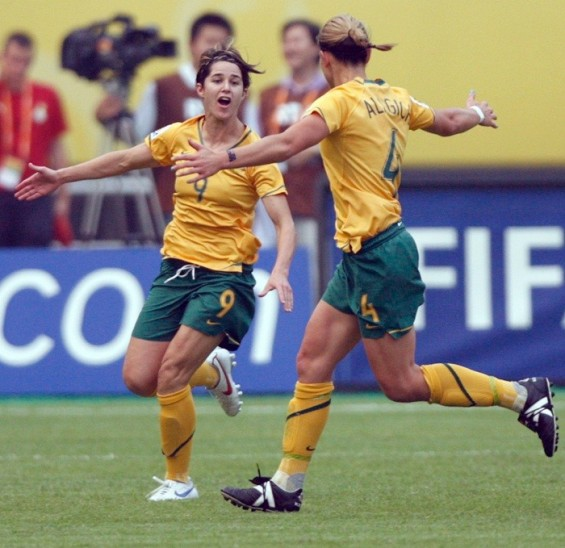 Australia's Sarah Walsh (L) celebrates with her team mate Dianne Alagich after scoring a goal during during their group soccer match against Ghana as part of the 2007 FIFA Women's World Cup at the Hangzhou Dragon Sport Stadium in Hangzhou, Septe
