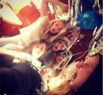 Cara Delevinge with Suki Waterhouse, Sophia Kerrison, Scarlett Alexander and Clara Paget for her 22nd bday in Ibiza