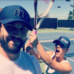 Kaley Cuoco and Ryan Sweeting after a game of tennis on August 17, 2014