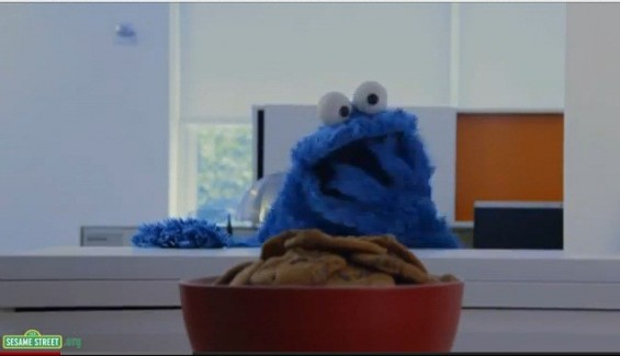 """Share it Maybe"" Cookie Monster spoofs Carly Rae Jepsen's song ""Call Me Maybe."""