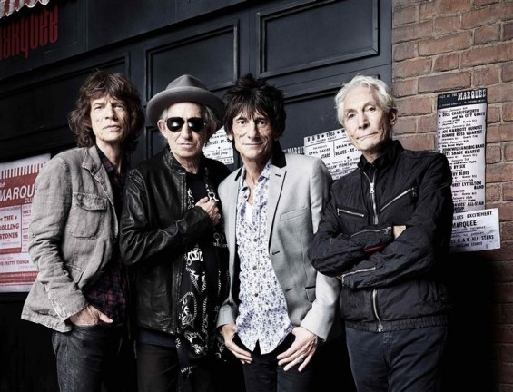 The Rolling Stones' Mick Jagger, Keith Richards, Ronnie Wood and Charlie Watts (L-R) pose in front of The Marquee Club in London in this handout photograph received by Reuters on July 11, 2012.