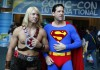 Convention attendees dressed as He-Man (L) and Superman arrive at the pop culture event Comic-Con in San Diego, California, in this July 22, 2011 file photo. Comic-Con, which kicks off on July 12, 2012 and is expected to attract more than 126,000 people,