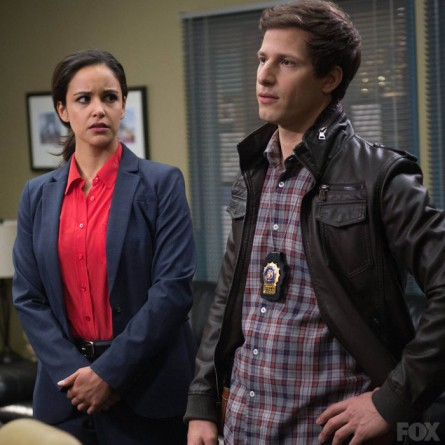 Andy Samberg as Peralta and Melissa Fumero as Santiago on 'Brooklyn Nine-Nine'