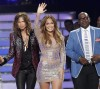 "Judges Steven Tyler (L), Jennifer Lopez and Randy Jackson pose together during the 11th season finale of ""American Idol"" in Los Angeles, California, in this May 23, 2012 file photo."