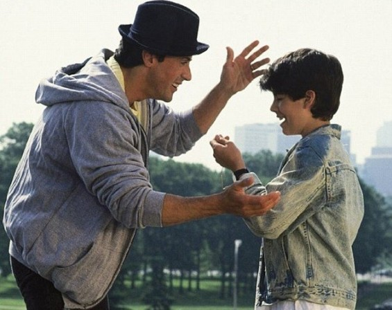 Sylvester Stallone and Sage on Rocky 5.