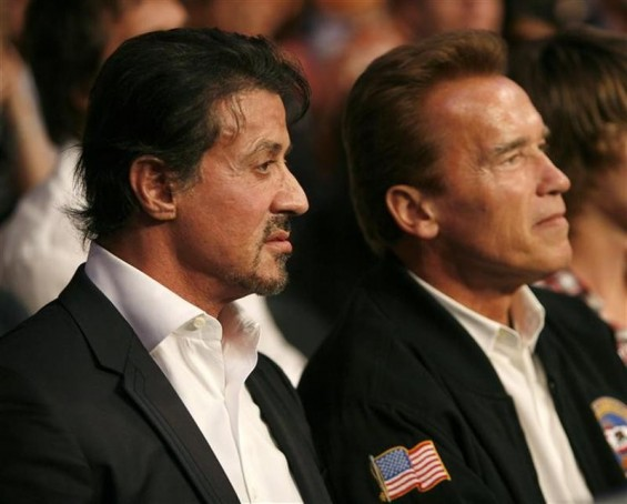 U.S. actor Sylvester Stallone (L) and California Governor Arnold Schwarzenegger wait for the start of the WBC Heavyweight Championship boxing bout between Vitali Klitschko of Ukraine and Cristobal Arreola of the U.S. at the Staples Center in Los Angeles,