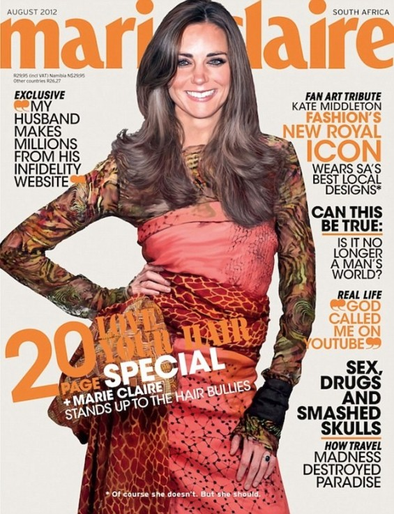 Kate Middleton on Marie Claire, August 2012. The cover was photoshopped.