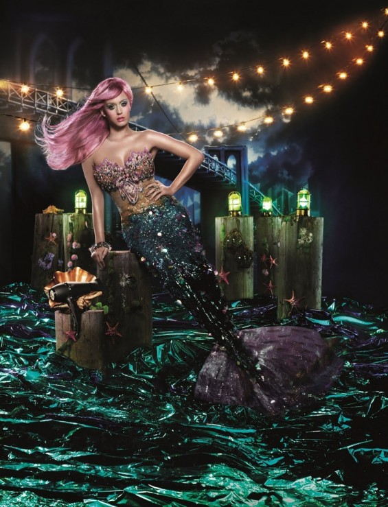 Katy Perry wears a Mermaid costume for a hairdryer ad.