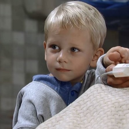 Danny clutches his father's hand on the October 2, 2014 episode of 'General Hospital'