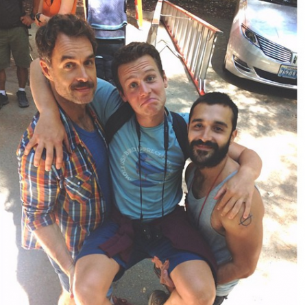 Murray Bartlett, Jonathon Groff and Frankie J. Alvarez behind the scenes of 'Looking' season 2