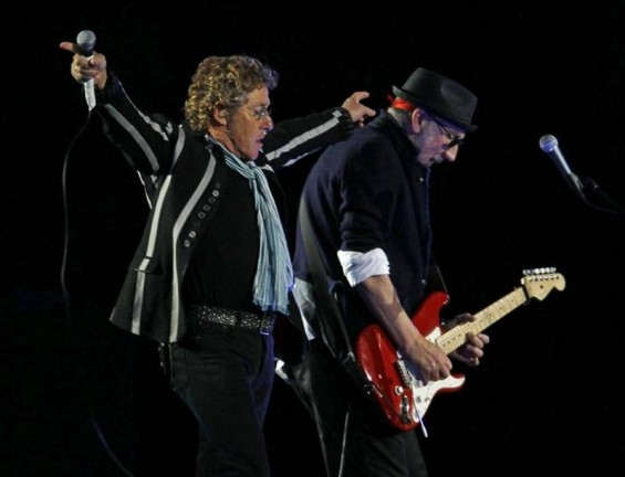 Roger Daltrey (L) and Pete Townshend of 'The Who' perform during the halftime show for the NFL's Super Bowl XLIV football game between the New Orleans Saints and the Indianapolis Colts in Miami, Florida February 7, 2010.