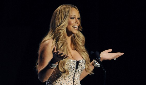Singer Mariah Carey speaks on stage at the 2012 BET Awards in Los Angeles, July 1, 2012.