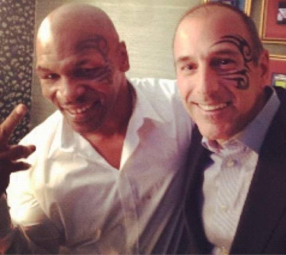 """Mike Tyson and Matt Lauer pose backstage on the """"Late Night"""" show with Jimmy Fallon with the same face tattoo on July 19."""