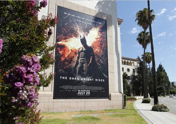 A poster for the Warner Bros. film &#034;The Dark Knight Rises&#034; is displayed at Warner Bros. studios in Burbank, California, July 20, 2012. 