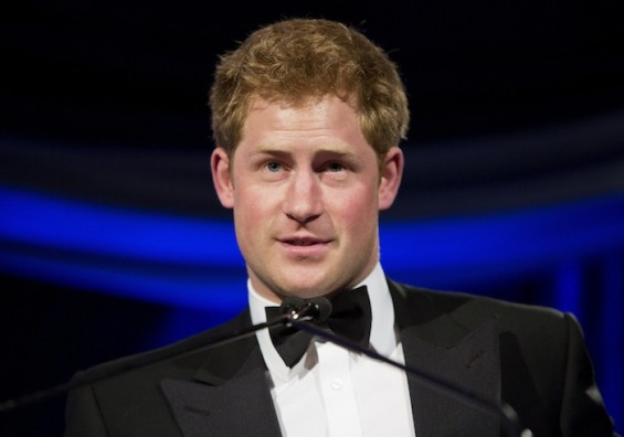 Britain's Prince Harry speaks after receiving the Humanitarian Award from the Atlantic Council during their annual awards dinner in Washington May 7, 2012.