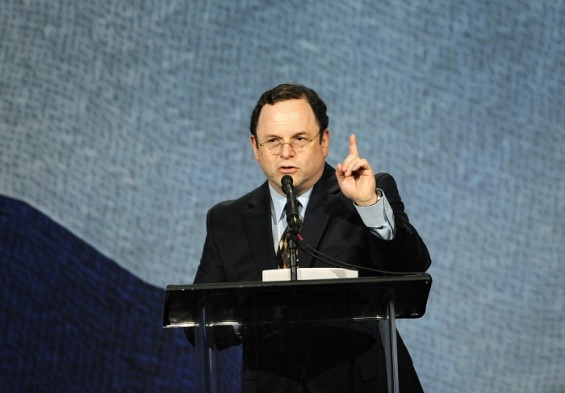 Actor Jason Alexander speaks during an address to the Jewish community of Los Angeles held at the Beverly Hilton Hotel in Beverly Hills, California March 8, 2012.
