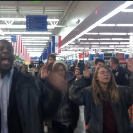 Ferguson Protestors at a Wal-Mart in St. Charles, Mo. during Black Friday sales, Nov. 27 2014