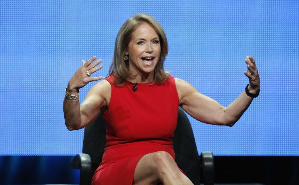 "Host Katie Couric speaks at a panel for ""Katie"" during the Disney/ABC Television Group portion of the Television Critics Association Summer press tour in Beverly Hills, California July 26, 2012."
