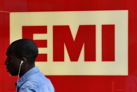 A man enters EMI offices in west London August 18, 2010.