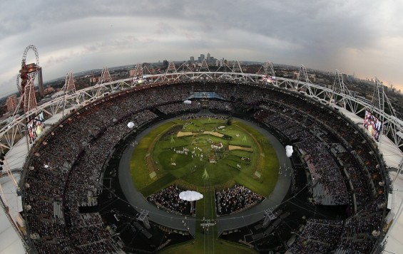 Picture shows the general view of the Olympic Stadium before the opening ceremony of the London 2012 Olympic Games, July 27, 2012. 