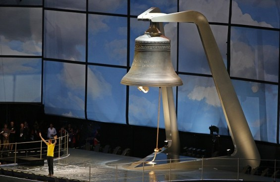 The show opened with the ringing of the largest harmonically-tuned bell in the world that weighs 23 tons and a very key character from Britain's  history speaking words from 'The Tempest': 'Be not afr