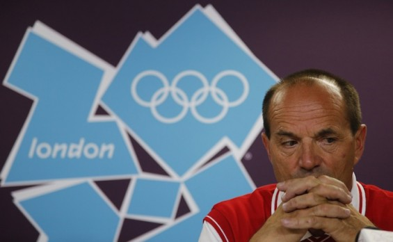 Switzerland's Olympic team chief Gian Gilli reacts during a news conference at the London 2012 Olympics